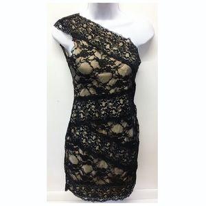 Ark & Co |Black & Nude Laced One-Shoulder Dress